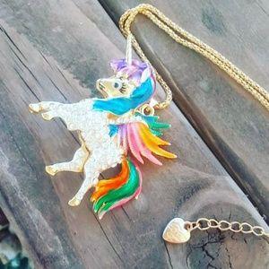 Betsey Johnson winged rainbow unicorn necklace